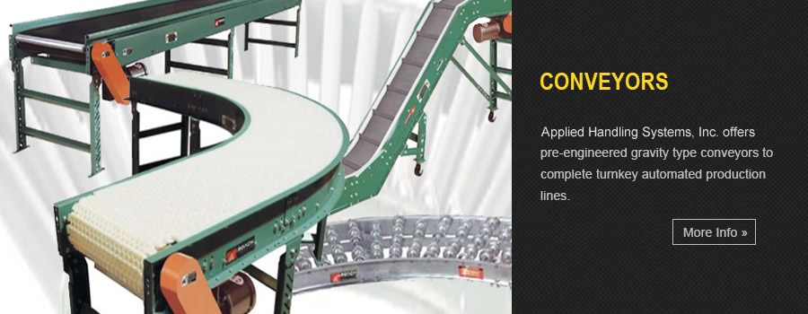 Conveyors - MMH offers conveyor systems ranging from pre-engineered gravity type conveyors to complete turnkey automated production lines.